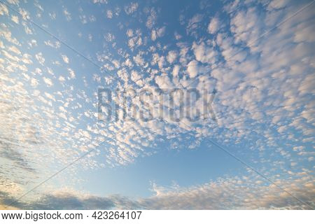 Beautiful Evening Sky With White And Pink Clouds At Sunset. Sky Panorama For Screensavers, Postcards