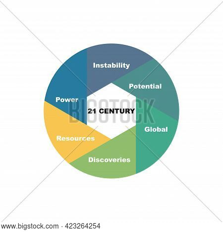 Diagram Concept With 21 Century Text And Keywords. Eps 10 Isolated On White Background
