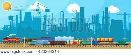Industrial Landscape Of Cargo Rail Transportation With Plant And Fuming Pipes. Factory Building. Pip