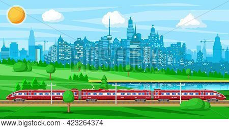 High Speed Train And Summer Landscape With Cityscape. Super Streamlined Train. Passenger Express Rai