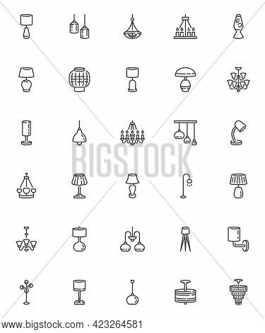 Lighting And Lamps Line Icons Set. Linear Style Symbols Collection, Outline Signs Pack. Home Office