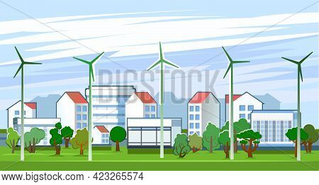 Wind Power Generator. Suburban Comfortable Village. Cartoon Flat Style. Sky And Meadows. An Environm