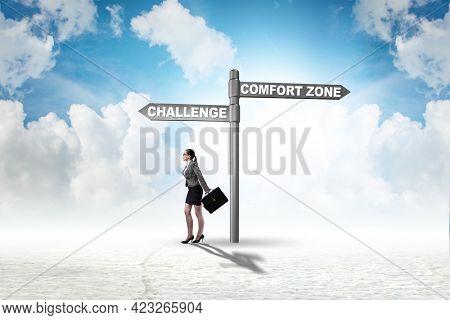 Businesswoman choosing between leaving comfort zone or not
