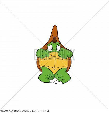 Cartoon Character. Frightened Turtle. Isolated On White Background. Animal Theme.