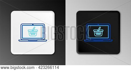 Line Shopping Basket On Screen Laptop Icon Isolated On Grey Background. Concept E-commerce, E-busine