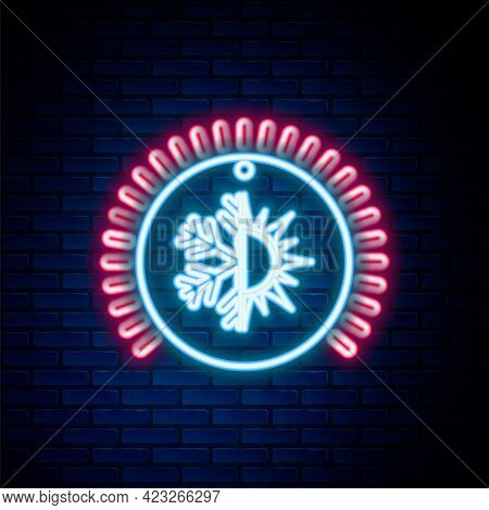 Glowing Neon Line Thermostat Icon Isolated On Brick Wall Background. Temperature Control. Colorful O