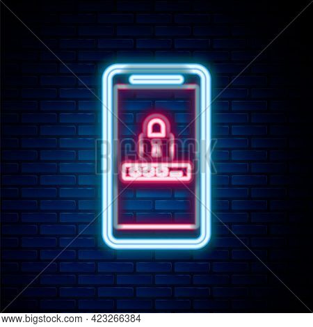 Glowing Neon Line Mobile Phone And Password Protection Icon Isolated On Brick Wall Background. Secur