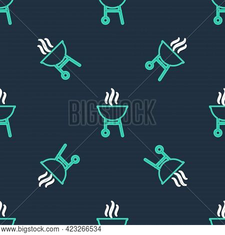 Line Barbecue Grill Icon Isolated Seamless Pattern On Black Background. Bbq Grill Party. Vector