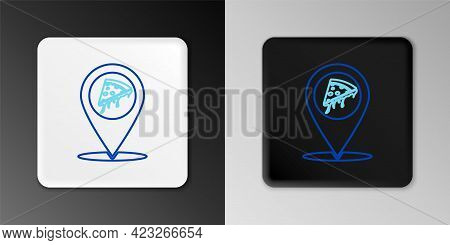 Line Map Pointer With Fast Food Slice Pizza Icon Isolated On Grey Background. Pizzeria Location Icon