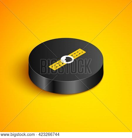Isometric Line Silicone Ball Gag With A Leather Belt Icon Isolated On Yellow Background. Fetish Acce