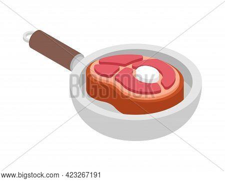 Steak In Pan. Piece Of Meat Is Fried In Pan