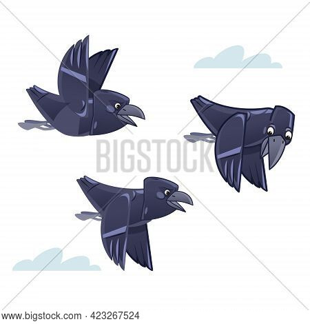 Cartoon Flocks Of Crows Flying In The Sky. Vector Illustration Isolated On White Background