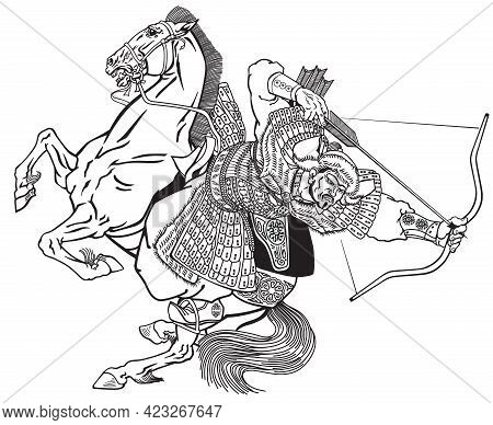 Mongol Archer Warrior On A Horseback Riding A Pony Horse And Shooting A Bow And Arrow. Medieval Time