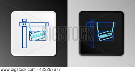 Line Hanging Sign With Text Sold Icon Isolated On Grey Background. Sold Sticker. Sold Signboard. Col