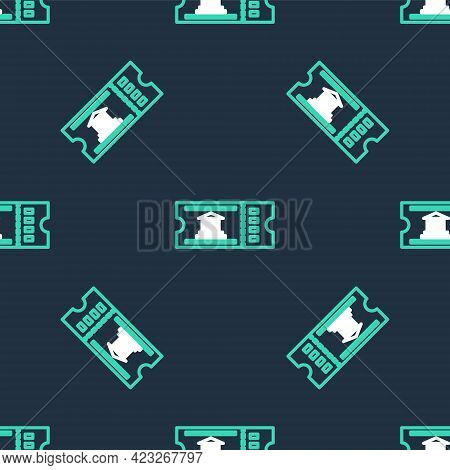 Line Museum Ticket Icon Isolated Seamless Pattern On Black Background. History Museum Ticket Coupon