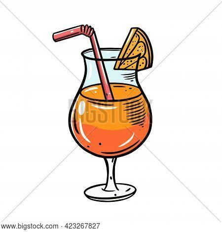 Mai Tai Cocktail. Hand Drawn Line Art Style. Colorful Cartoon Vector Illustration.