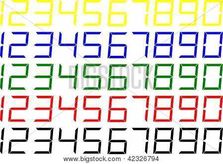 Coloured LCD Style Digits