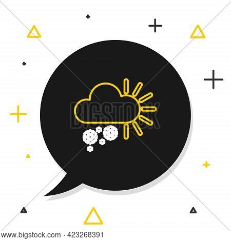 Line Cloudy With Snow Icon Isolated On White Background. Cloud With Snowflakes. Single Weather Icon.