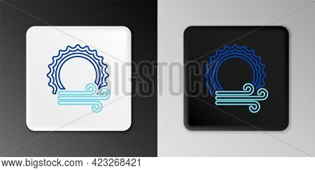 Line Wind And Sun Icon Isolated On Grey Background. Windy Weather. Colorful Outline Concept. Vector
