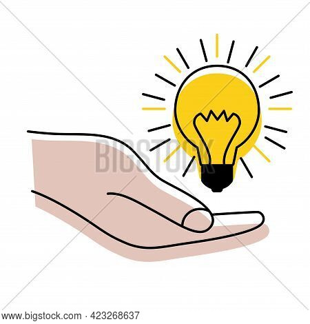 Light Bulb With Rays In The Hand. Concept Of Ideas, Inspiration, Effective Thinking. Idea Sign, Solu
