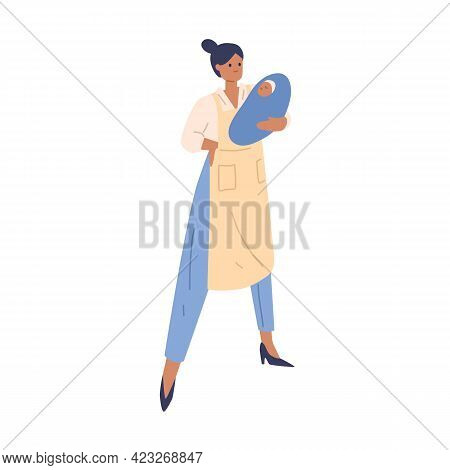 Woman Combining Roles Of Mother With Baby, Housewife In Apron And Businesswoman. Concept Of Multitas