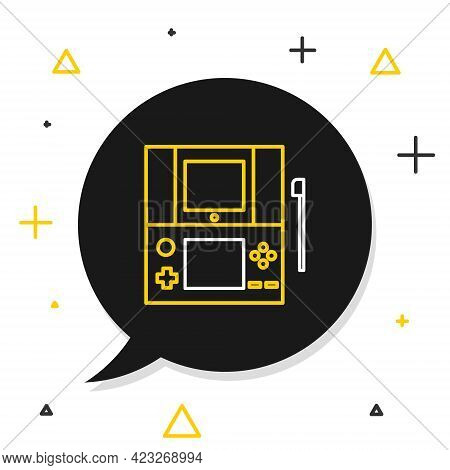 Line Portable Video Game Console Icon Isolated On White Background. Gamepad Sign. Gaming Concept. Co