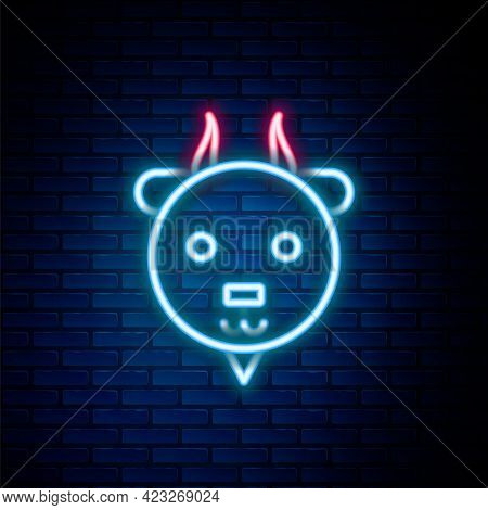 Glowing Neon Line Aries Zodiac Sign Icon Isolated On Brick Wall Background. Astrological Horoscope C