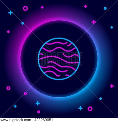 Glowing Neon Line Planet Venus Icon Isolated On Black Background. Colorful Outline Concept. Vector