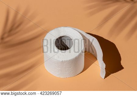 Roll Of A White Toilet Paper Isolated On A Sand Color Background Under A Palm Tree Shadow Close-up.