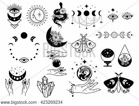 Celestial Black Magic Symbols Sun, Moon, Crystals, Evil Eye, Witch Hands And Moth. Set Of Esoteric S