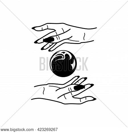 Esoteric Concept Mystic Symbols And Fortune-telling Hands Black Vector Illustration.