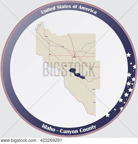 Large And Detailed Map Of Canyon County In Idaho, Usa.
