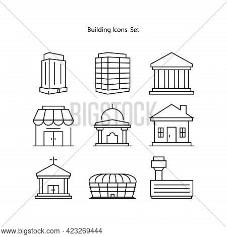 Buildings Icons Set Isolated On White Background. Buildings Icon Thin Line Outline Linear Buildings