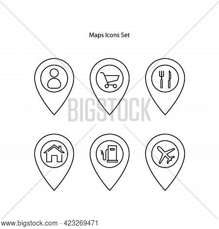 Map Pointer Icons Set Isolated On White Background. Map Pointer Icon Trendy And Modern Map Pointer S