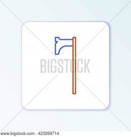 Line Medieval Axe Icon Isolated On White Background. Battle Axe, Executioner Axe. Medieval Weapon. C