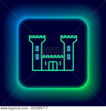 Glowing Neon Line Castle Icon Isolated On Black Background. Fortress Sign. Colorful Outline Concept.