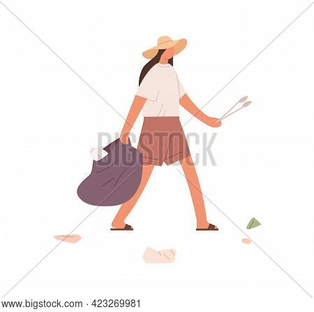 Person Holding Bag For Garbage And Tongs For Collecting Litter. Female Volunteer Cleaning Environmen