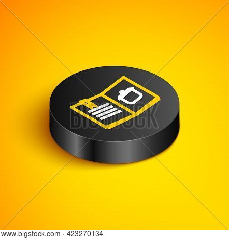 Isometric Line Cookbook Icon Isolated On Yellow Background. Cooking Book Icon. Recipe Book. Fork And