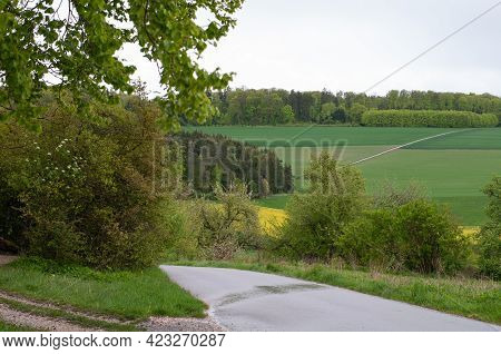 A Wet Single Lane Road In A Hilly Rural Landscape On A Rainy Day In Springtime