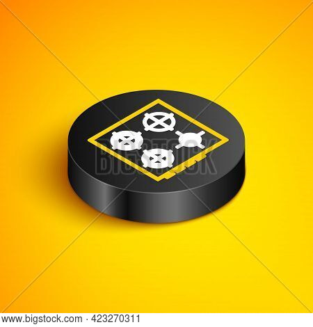 Isometric Line Gas Stove Icon Isolated On Yellow Background. Cooktop Sign. Hob With Four Circle Burn