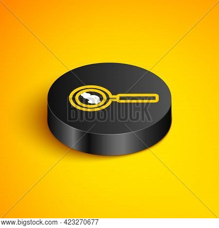 Isometric Line Magnifying Glass And Dollar Symbol Icon Isolated On Yellow Background. Find Money. Lo