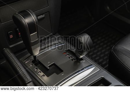 Novosibirsk, Russia - June 08, 2021: Mitsubishi Pajero , Automatic Transmission Lever Shift.