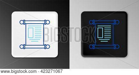 Line Decree, Paper, Parchment, Scroll Icon Icon Isolated On Grey Background. Chinese Scroll. Colorfu