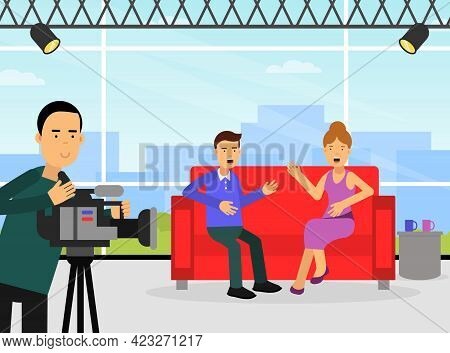 Female Journalist Conducting Interview In Studio On Television Broadcast Asking Question Vector Illu