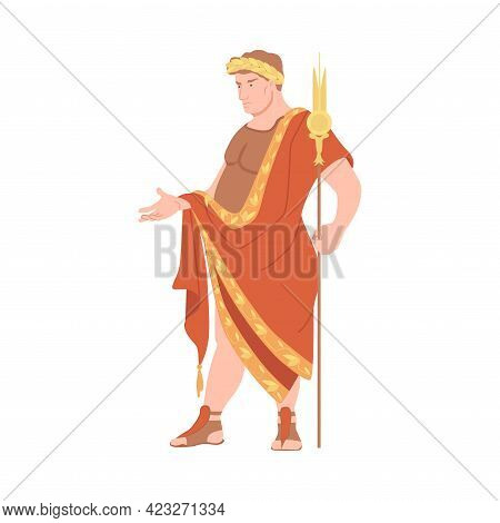 Young Male As Roman Emperor In Long Dress Wearing Laurel Wreath Vector Illustration