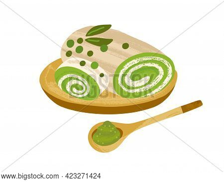 Matcha Roll Cake With White Chocolate Filling, Served On Wooden Board With Green Tea Powder. Airy Sp