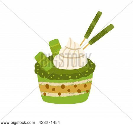 Japanese Cupcake With Matcha Green Tea Flavour. Asian Natural Vegetarian Sponge Dessert. Healthy Ori