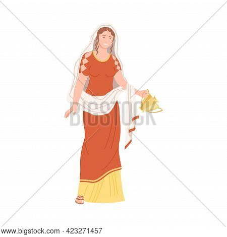 Roman Woman Wearing Long Tunic And Sandals Carrying Greek Ceramic Amphora Vector Illustration