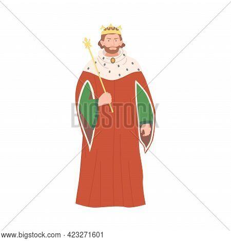 Bearded King With Crown And Scepter As Fabulous Medieval Character From Fairytale Vector Illustratio