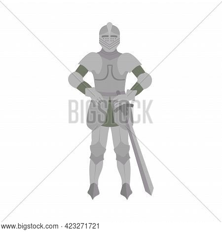 Knight In Iron Armour And Sword As Fabulous Medieval Character From Fairytale Vector Illustration